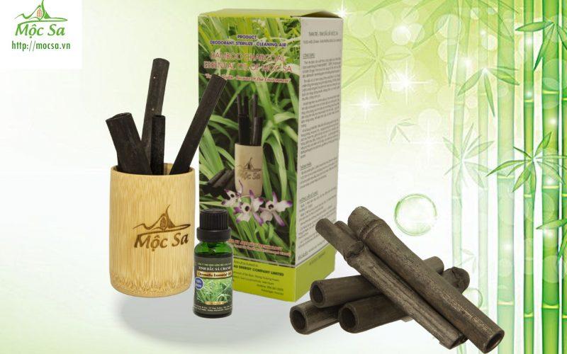 bộ sản phẩm than tre tinh dầu sả Java cốc tre